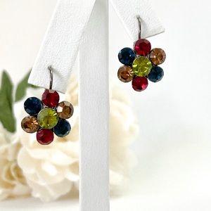 Kirks Folly Earrings Multicolored Crystal Flowers